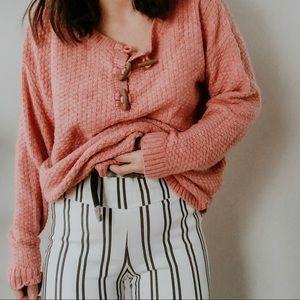 RUFFHEWN • Oversized chunky boho pink sweater